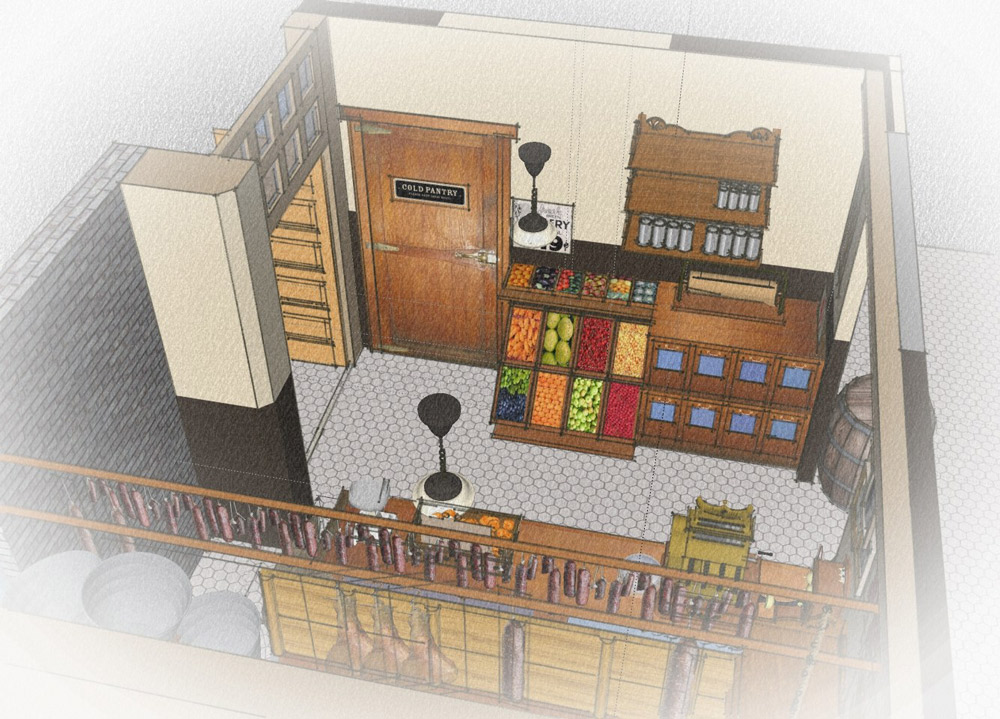 Menotti's Grocery Store at The Townhouse in Venice Beach CA: Design rendering of space. ©Chapple Design 2014. Note trap doors leading down stairs.