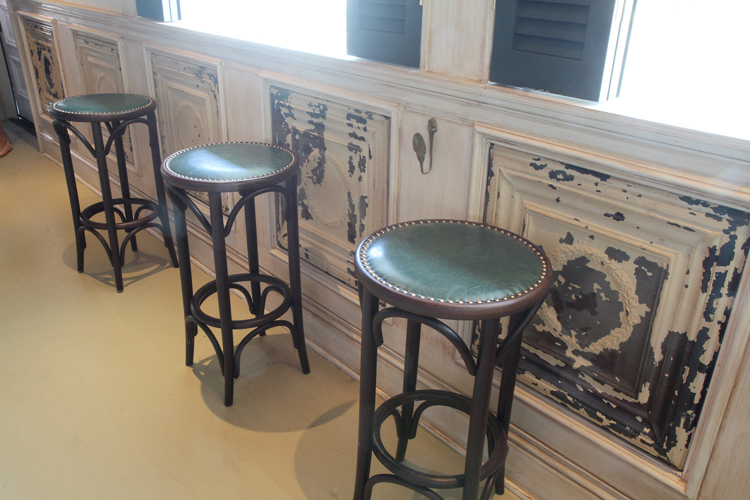 Hatchet Hall stools and wall design